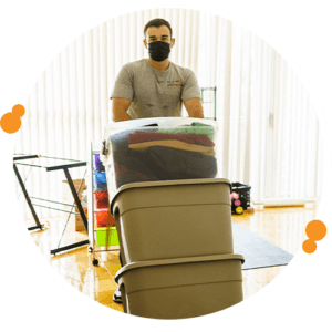 moving with storage bins and boxes